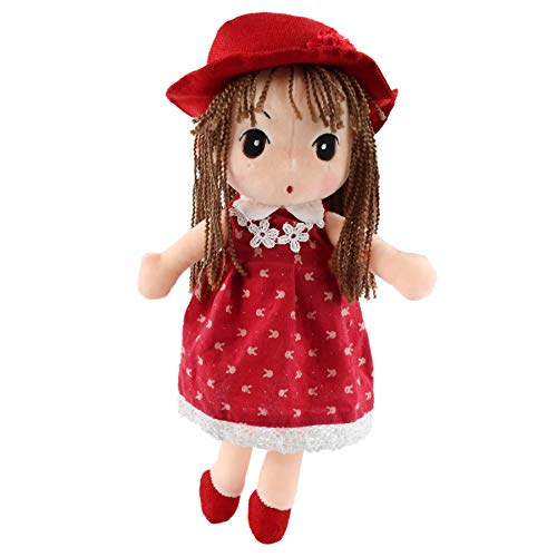 Houwsbaby Stuffed Rag Doll for Girl Soft Plush Toy Cuddly Gift in Pretty Floral Dress Hat Home Decor, 17 inches (Red) (Holiday Rag Doll)
