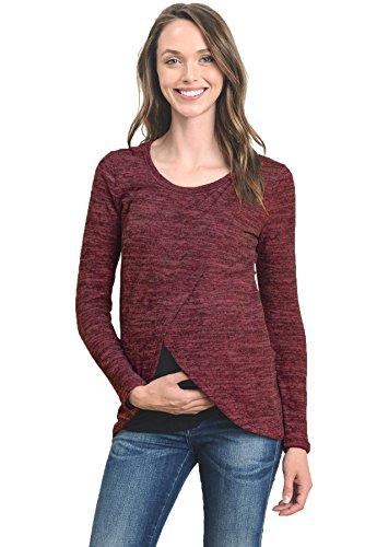 Hello Miz Maternity Sweater Knit Long Sleeve Nursing Overlay