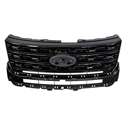 Front Grill Replacement fits Ford Explorer | 2016 2017 | Sport Style ABS | by JX Accessories (Glossy Black)
