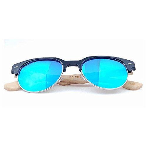 de de Hommes Bleu pour Lunettes en lentille et Bambou Semi Soleil Une Rimless Gububi Utilisation Protection pour Polyvalent Miroir extérieure des Bambou de de UV en Femmes quotid irrégulières la Convient TwBExAq