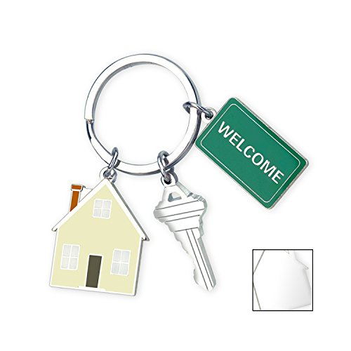 Cute Gift, Sweet Home Keychain With 3 Charms: House, Key and Welcome Mat