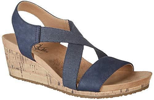 Sandal Color Woman Blue (LifeStride Women's Mexico Wedge Sandal Navy 8 M US)