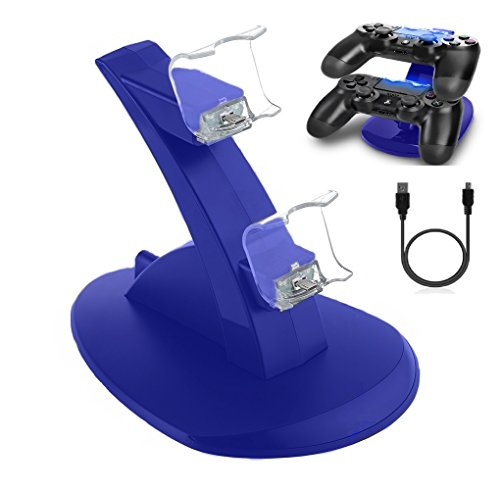Consumer Electronic Storage - BLUE Color DualShock 4 Dual USB Charging Dock Charger Docking Station Stand for Sony Playstation 4 PS4 / PS4 Pro / PS4 Slim Controller with Cable by H3GRUP