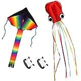 ZoomSky 2pcs Cometa Iris de Triangular y Pulpo bagre Color Vario Rainbow de Volar con Viento Suave para los niños y…