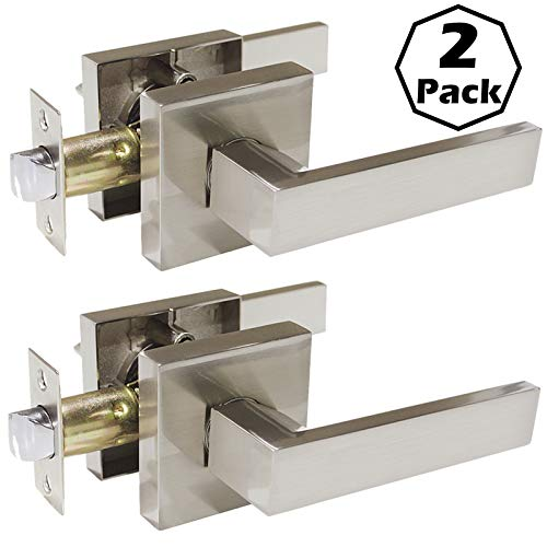 Plate Lever Handle - 2 Pack Square Door Levers,Hall Closet Door Locksets, Passage Door Handles,Satin Nickel Finished