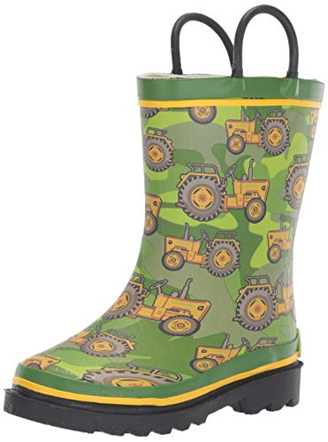 Western Chief Boys Kid's Waterproof Printed Rain Boot, Vintage Tractor, 11/12 M US Toddler