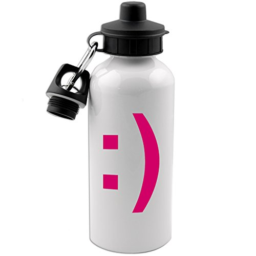 (Smiley Face Emoji Emoticon Symbol 20 OZ White Aluminum Water Bottle (RASPBERRY PINK))