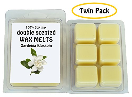 Gardenia Blossom DOUBLE SCENTED SOY WAX MELTS - WAX TARTS (Twin Pack-6.5oz). The Sweet Floral, Silky Aroma of Fresh Gardenia (Fresh Gardenia)