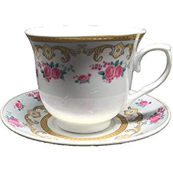 Set of 12 Gold Floral//Roses Design Tea Cup Saucer Set with Gift Box YDY-C03E{Ashley Gifts}