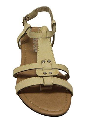 Bella Marie Maggie-11 Donna Open Toe Stallone T-strap Slingback Fibbia Regolabile Sandali Alla Caviglia Beige