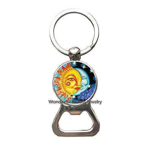 New Design Glass Cabochon Moon and Sun Bottle openers Keychain Handmade Round Moon and Sun Yin Yang Harmonious Key Ring Jewelry,PU147
