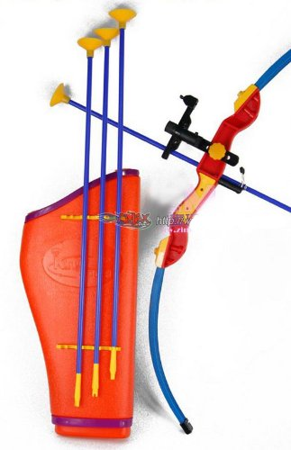 """32"""" Toy Archery Bow and Arrow Set for Kids - Four Suction Cup Arrows + Quiver"""