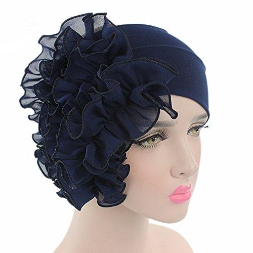 [Ever Fairy 11 Colors Chemo Cancer Head Scarf Hat Cap Ethnic Cloth Flower Printed Turban Headwear Women Stretch Big Flower Muslim headscarf] (Ethnic Hats)