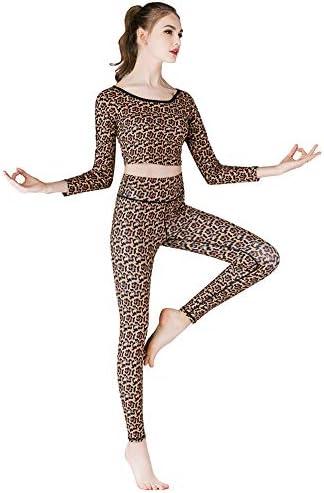 スポーツフィットネスヨガセット、イエローヒョウ柄、速乾性のスリムハイウエスト、クロップドトップ+スリムパンツ、二点セット女性の体操服を着用してください,M