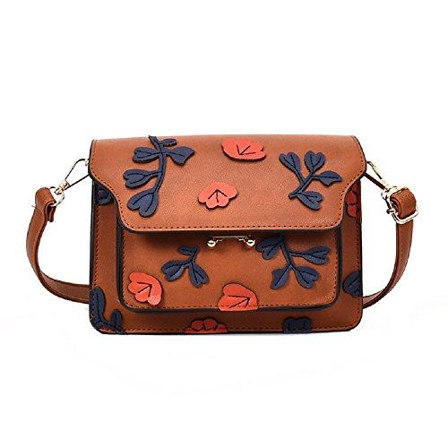 Multi Bag personnalité Marron Nouveau Sac ZHRUI Petit Unique féminin Couche Feuille carré Messenger épaule 16TcwB4q