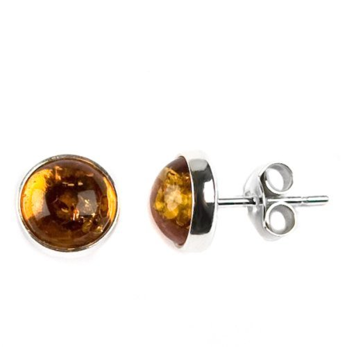 Honey Amber Sterling Silver Round Stud - Silver Earrings Amber Sterling Cabochon