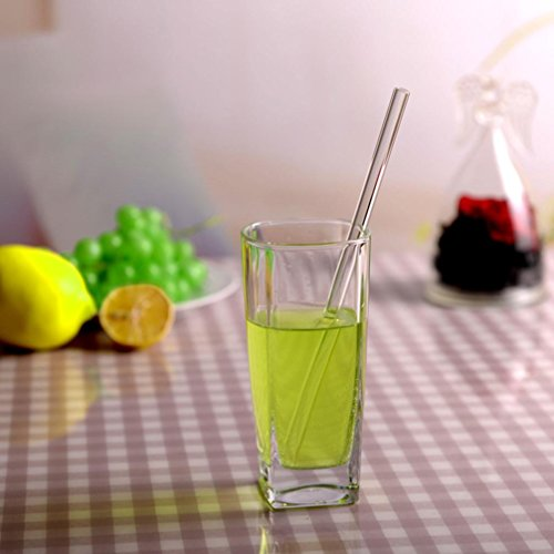 Euone Reusable Glass Straws Smoothie Drinking Straws for Milkshakes Frozen Drink (A) from Euone