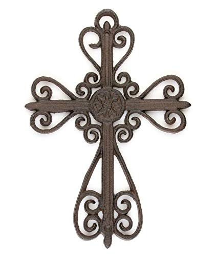 DRD&M Cast Iron Scroll Cross Vintage Ornate Wall Sculpture Decoration | 9-Inches by 13-Inches by .5-Inches | CI102