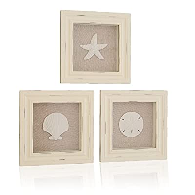 "Tumbler Home Custom Set of 3 Shell Shabby Chic Shadow Boxes- Off White Frame 7"" x 7"" - Shells Mounted on Fabric Background - We asked our customers what they wanted to see in a Coastal Shadow Box, here's what they said: Show us a beautiful, vintage, shabby-chic design with meticulous detailing (Each shell has a 3"" diameter) : So we did! Help us decorate in the coastal cottage design, perfect for our beach, lake or rustic décor: Perfect, done! - picture-frames, bedroom-decor, bedroom - 41XUtOpnBOL. SS400  -"