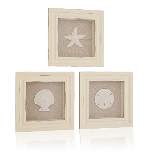 Tumbler Home Custom Set of 3 Shell Shabby Chic Shadow Boxes- Off White Frame 7″ x 7″ – Shells Mounted on Fabric Background For Sale