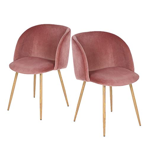 HomyCasa Dining Chairs Set of 2 Living Room Side Chair Guest Chair Velvet Fabric Ergonomic Padded Seat Armrest with Metal Legs Scandinavian Style Indoor Coffee Shop (Pink)