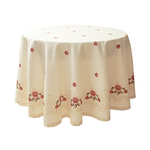 Decorative Red Floral Print Lace Water Resistant Tablecloth Wrinkle Free and Stain Resistant Fabric Tablecloths for Round Table 60 Inch by 60 Inch (Tablecloth Round Lace)