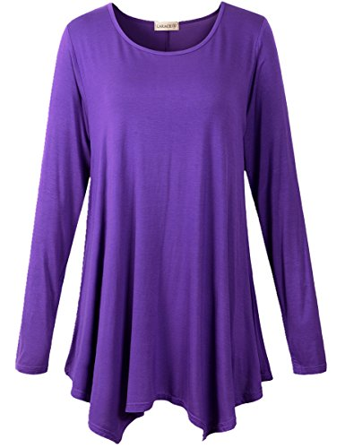 LARACE Womens Long Sleeve Flattering Comfy Tunic Loose Fit Flowy Top (L, Deep Purple) -