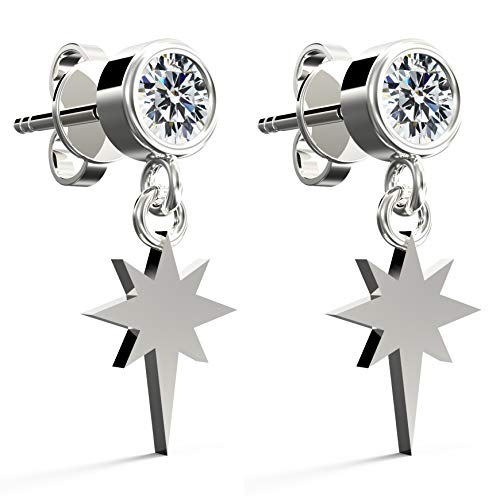 .925 Sterling Silver Cubic Zirconia Round Brilliant-Cut Stud Earrings, Cross Star