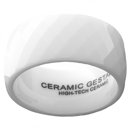 GESTALT COUTURE White Ceramic Ring 10mm Width. Faceted Design. Comfort Fit.