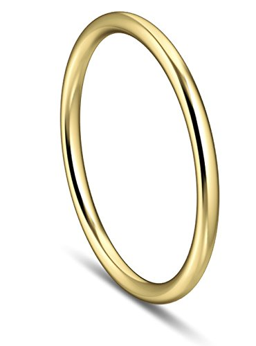 skielka designschmuck massif Basic Bague en or 1,5mm (or jaune 585) ronde Profil, Alliance sertie