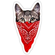 Gangster Cat (Size W5 x H9.7 Centimeter) Car Motorcycle Bicycle Skateboard Laptop Luggage Vinyl Sticker Graffiti Decal Bumper Sticker By August999