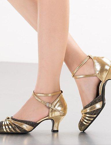 ShangYi Women's Dance Shoes Latin Leatherette / Paillette Chunky Heel Black / Blue / Purple / Gold Blue