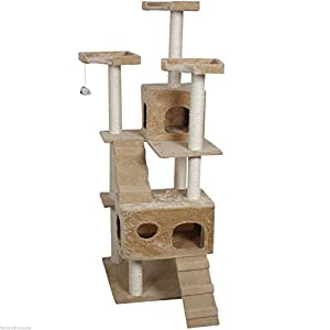 Goplus 73 Cat Kitty Tree Tower Condo Furniture Scratch Post Pet Home Bed Beige by Cat Tree