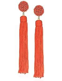 Orange Nylon Tassel Drop Earrings, 5