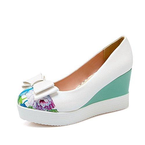 Weenfashion Valkoinen Pu Pull Suljetun Valikoituja Naisten Toe kengät Korkokenkiä pumppuihin Väri Ympäri pAFrwPpx4q