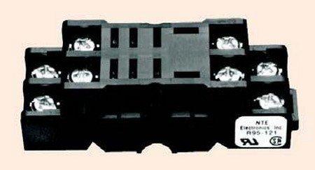 NTE Electronics R95-121 8 Pin Midget Blade Socket with Pressure Clamp Screw, Panel/Surface Mount, 300V, 10 - Panel Midget