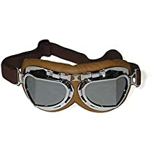 CRG Sports Vintage Aviator Pilot Style Motorcycle Cruiser Scooter Goggle T08 T08SSN Silver lens, silver frame, brown padding