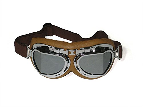 Men's Steampunk Goggles, Guns, Gadgets & Watches CRG Sports Vintage Aviator Pilot Style Motorcycle Cruiser Scooter Goggle T08 T08SSN Silver lens silver frame brown padding $11.99 AT vintagedancer.com