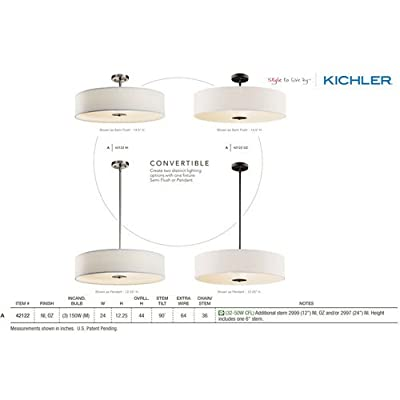 Kichler 42122 3-Bulb Indoor Pendant or Semi-Flush Ceiling Light with Drum-Shaped,