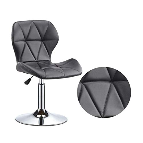 LJX-marryjgo Stool 360° Rotation Adjustable Lift PU seat Chrome Base bar Chair, Front Desk backrest Stool - Your Family Creates a Warm and Harmonious Atmosphere (Color : Black)