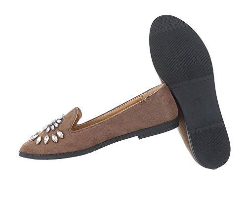 Damen Schuhe Halbschuhe Slipper Hellbraun