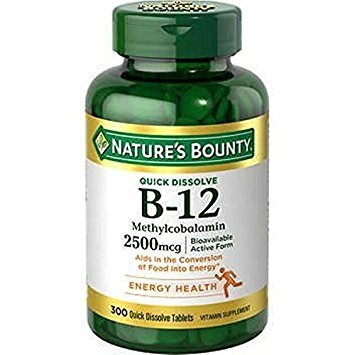 - Nature's Bounty Quick Dissolve Fast Acting 2500 mcg Vitamin B-12 Methylcobalamin Natural Cherry Flavor (300 tablets)