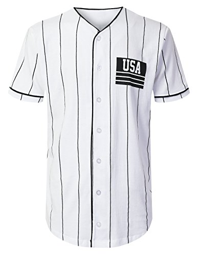 URBANCREWS Mens Hipster Hip Hop USA Striped Baseball Jersey Shirts Black, L (Striped Baseball Jersey)