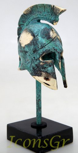 Ancient Greek Bronze Museum Replica of Spartan Officer Helmet on a Base (Bronze Greek Helmet)