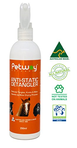 PETWAY Petcare Anti-Static Detangler - Dematting Spray for Dogs, Pet Detangling Spray, Free of Phosphates, Parabens & Enzymes - Tangle Remover, Daily Grooming Aid, Soap & Fragrance Free (250)