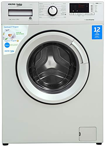 Voltas Beko 6 Kg Inverter Fully-Automatic Front Loading Washing Machine, Inbuilt Heater, 26 Stain Remover (WFL60SS, Silver)