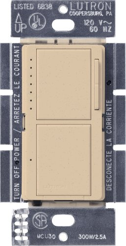 Lutron MA-L3S25-DS Maestro 300-Watt Single-Pole Digital Dimmer and 2.5 Amp On/Off Switch, Desert Stone