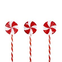 Alpine Corporation COR114T-3 Candy Cane Pathway LED, Decorative Winter Christmas Lights for Front Yard, Red and White, Set of 3 Holiday décor, Multi