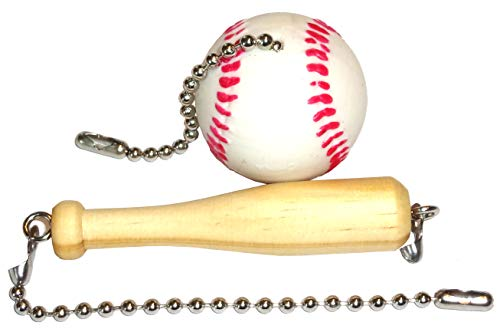 Baseball & Bat Ceiling Fan Pull Set by Wooden Androyd Studio - Nursery Kid's Room Decor, Gift for Coaches or Kids.