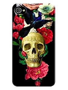 IPhone 4 Case, hard plastic phone case, good shape Case with Beautiful Skull design for iphone 4(best gift)